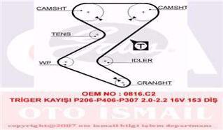 Trıger Kayısı 153x254 Peugeot 206 307 406 407 607 C4 C5 C8xsara1.8 2.0 2.2 Expert Fıat Ct1138*c resmi