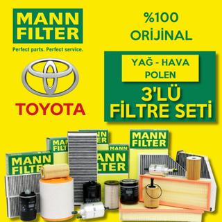 Toyota Avensis 1.6 Mann-filter Filtre Bakım Seti 2009-2016 resmi