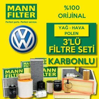Vw Bora 1.6 Mann-filter KARBONLU Filtre Bakım Seti 1998-2005 resmi