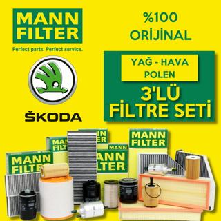Skoda Fabia 1.6 TDI Mann-Filter Filtre Bakım Seti 2010-2013 resmi