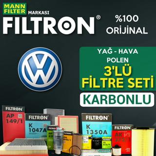 VW Bora 1.6 Filtron KARBONLU Filtre Bakım Seti 1998-2005 BCB, AZD resmi
