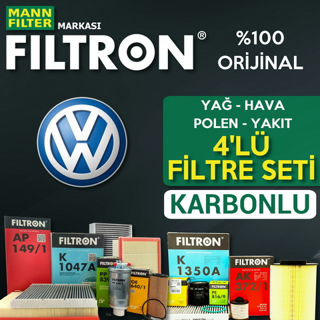 VW Bora 1.9 TDI Filtron KARBONLU Filtre Bakım Seti 1998-2005 resmi